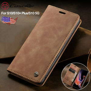 For Samsung Galaxy S10 Plus S10 5G Magnetic Leather Flip Wallet Stand Case Cover