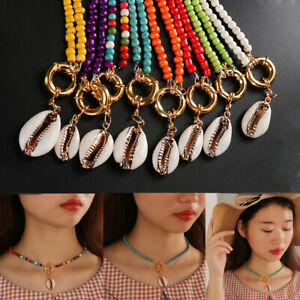 Women Bohemian Shell Pendant Colorful Beads Choker Turquoise Chain Bib Necklace