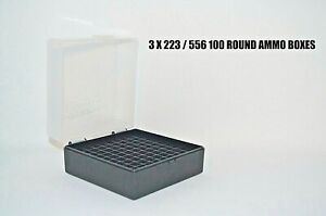 10 X BERRY'S PLASTIC STORAGE AMMO BOX CLEAR COLOR 223556 ACP 100 rd
