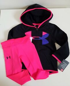 NWT Under Armour Baby Girls Zip Hoodie And Legging Black Size 18M