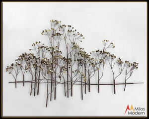 Vtg Mid Century Modern Curtis Jere Trees Tree Wall Sculpture Gold Metal Signed