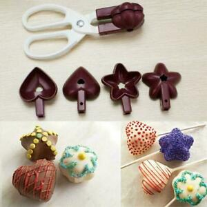 Heart Flower Cake Mold Star Baking Lollipop Shaped Cookie Mold Clamp Chocol O0W1