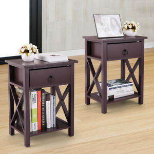 Set of 2 Wooden Nightstand Bedroom Side End Table Cross Style w/One Drawer Brown