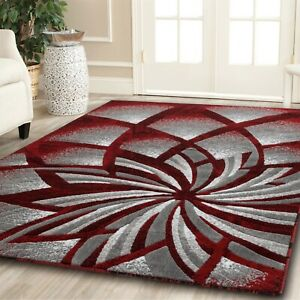 Area rug Nwprt #62 Modern gray black red soft pile size option 2x3 4x5 5x7 8x11