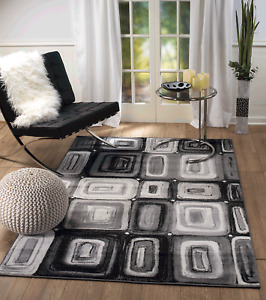 Area rug Smt#100 Modern Black and Gray soft pile size options 2x3 3x5 5x7 8x11