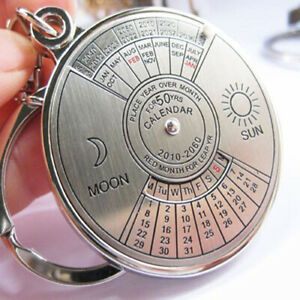Creative 50 Years Perpetual Calendar Silver Alloy Key Chain Ring Keychain Wide