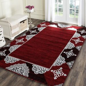 Area rug Nwprt #85 Modern red soft pile size 2x3 4x5 5x7 8x11