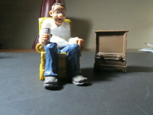 Vintage 1979 Wilton Grandpa Watching Tv With Beer Cake Topper