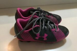 Under Armour FORCE Pink Black Soccer Cleats Girls Kids Toddler Size 11K EUC! $19.99