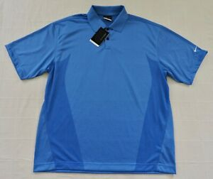 NIKE GOLF FIT DRY BODY MAPPING NWT Mens Sz Large Blue Short Sleeve Polo Shirt