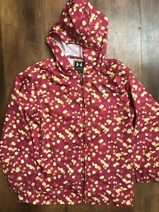 under armour Girls Pink Lightwieght Jacket Hoodie Full Zip Windbreaker Large YL