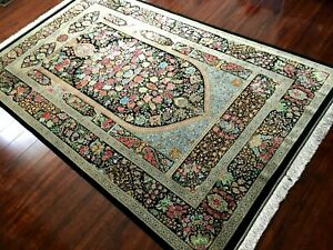 Fine Vintage 1970 Authentic Hand Made Knotted 100% Silk Rug