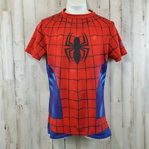 Under Armour Boys Compression Shirt Youth M Red Blue Spiderman Heatgear Fitted