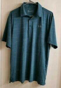 Under Armour Men's Loose HeatGear Stretch Golf Polo Shirt Blue Size Large