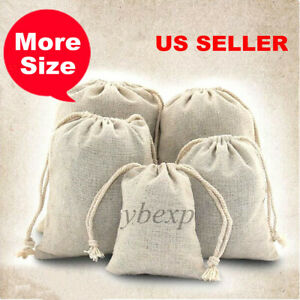 Cotton Muslin Drawstring Bags for Rice Craft Jewelry Sugar Gift Storage Bags LOT