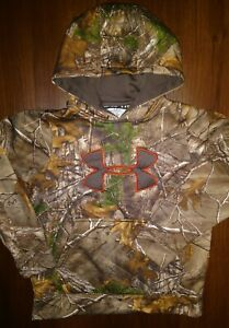Boy's Under Armour Realtree Cold Gear Camouflage Hoodie Pullover Sweatshirt MED