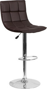 Contemporary Brown Quilted Vinyl Adjustable Height Barstool with Chrome Base