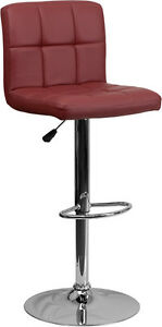 Contemporary Burgundy Quilted Vinyl Adjustable Height Bar Stool w/ Chrome Base