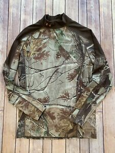 Under Armour Womens XL Brown and Realtree AP Long Sleeve Mock Neck Hunting Shirt