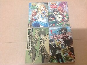 rising of the shield hero vol1-2, Log horizon vol1,Black bullet vol1 light novel