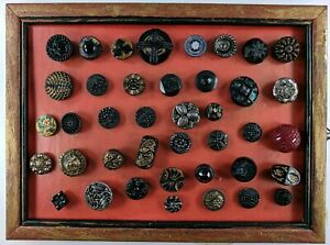 Antique Black Glass Button Collection Lot AB Luster Cut Steels Victorian Gold NR