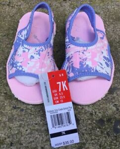 NWT Toddler Girl Under Armour Fat Tire 2 Sandal Water Shoe Pink Purple Size 7K $30.00