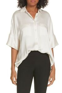 $300 VINCE SATEEN SILK SHORT SLEEVE BUTTON DOWN TOP BLOUSE IN IVORY SIZE XS
