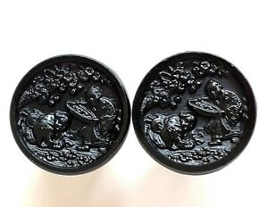 """Pair 2 Antique Black Glass Pictorial Orientals Picking Flowers 58"""" Buttons"""