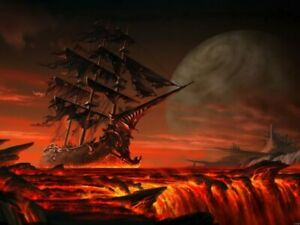 Fantasy Ship Sail Planet Lava Wall Print POSTER CA