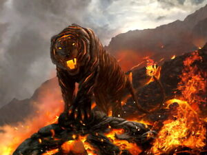 Lava Beast Fire Tiger Painting Art Wall Print POSTER CA