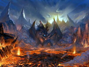 Dragon Fire Lava Fantasy Art Wall Print POSTER CA