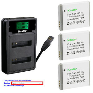 Kastar Battery LZD2 Charger for Canon NB-6L NB-6LH CB-2LY & Canon PowerShot S95