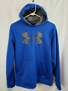 Men's Under Armour Logo Hoodie Blue & Gray Loose Fit Size Small $21.15