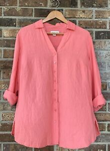 Coldwater Creek Womens Roll Tab Button Front Shirt Tunic Linen Coral Pink XL 16