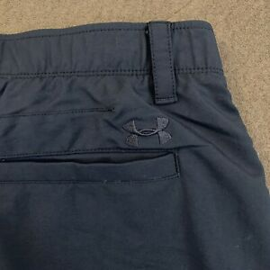 Mens UNDER ARMOUR Black Flat Front Performance Golf Shorts 38