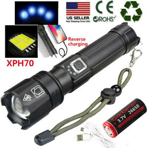 Super Bright XHP70 Zoomable 5 Modes LED USB Rechargeable 18650 Flashlight Torch