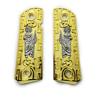 St jude 1911 Custom metal Grips 24k gold plated 4538 Super& any 1911 full size