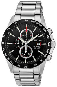 Citizen Men's Quartz Chronograph Tachymeter Black Dial 42mm Watch AN3648 52E