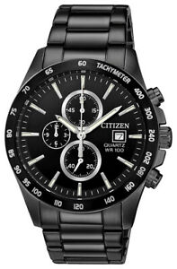 Citizen Men's Quartz Chronograph Black Multi Dial Bracelet 42mm Watch AN3645 51E