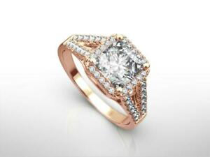 DESIGN 3.25 CT F VS1 CUSHION HALO SPLIT 14 KARAT RED ROSE GOLD RING LADY