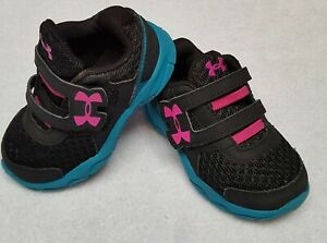 Toddler Baby Girls Pink Black UNDER ARMOUR Athletic Sneakers Shoes Sz 5 K VGC $24.00