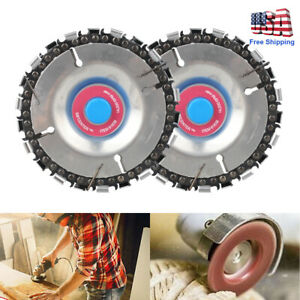 2xSteel Chain Saw Blade for Wood Carving 4 in. 22 Teeth Angle Grinder Disc Arbor