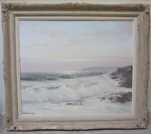 LEONARD LANE Listed Canadian Sunset Seascape Large Original Oil Signed Vintage