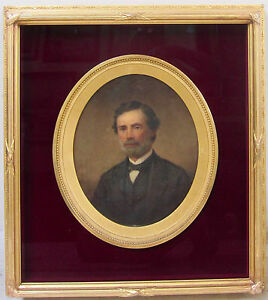 19th Century Portrait Gentleman Oval Antique Vintage NY Listed Signed W.O. STONE