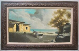 GARY NIBLETT Listed CA Artist Signed Original Oil Baja House Seascape Coastal
