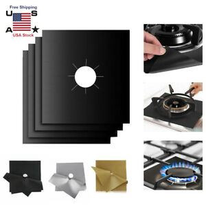 4x Gas Range Stove Top Burner Cover Protect Reusable Liner Clean Cook Non-stick
