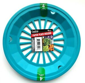 New Colorful Paper Plate Holders(Set of 4)Picnic BBQ Camping Pool Luau ~ Aqua