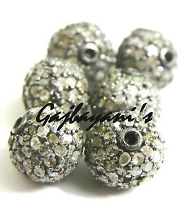6 PCS .PAVE ROSE CUT DIAMOND 925 SILVER 8 MM. BEAD FINDING AT WHOLESALE PRICE