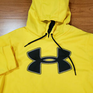 Men's Under Armour Big Logo Storm Pullover Hoodie Yellow Loose Large