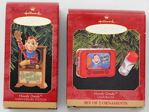 Hallmark HOWDY DOODY Anniversary Edition & Lunch Box Set of 2 Ornaments NEW